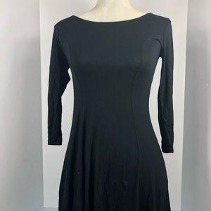 Forever21 black flare cotton dress size small EUC